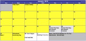 Matahui School Calendar